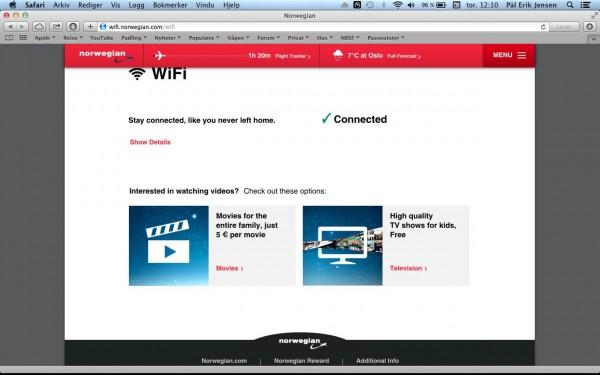 Wifi ombord er praktisk