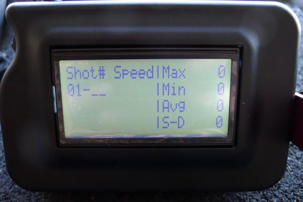 Display på Magnetospeed (kronograf)