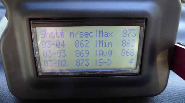 Slik ser skjermen og data ut på Magnetospeed'n