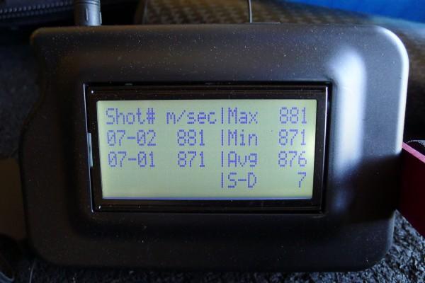 All hastighet ligger mellom 870 - 880M/S. Dette da med 123grs A-max. På bildet er det riktig nok bare 2 skudd. Men jeg skjøt i tillegg 3x3 skudd til som jeg grafet.