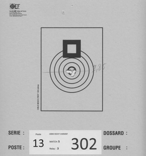 9,85mm første og andre skudd sitter på hver sin side. Da var det bare å putte de 3 andre i midten. Alt for dårlig...