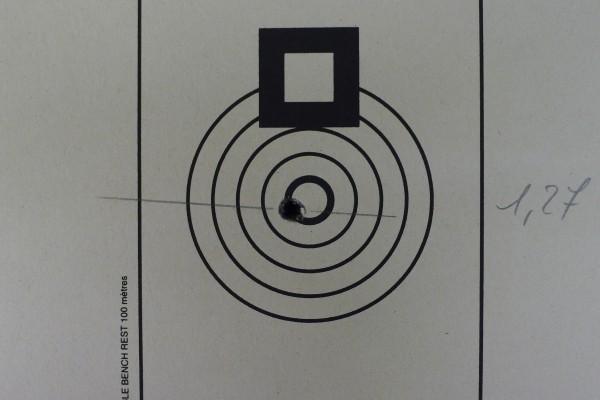 JC. Braconi får det til... Ny rekord på 1,27mm med 5 skudd på 100mtr. Meget godt skutt