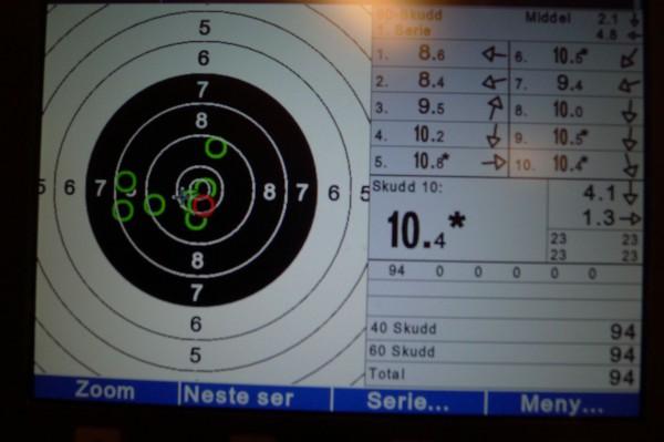 Begynte med 2 skudd i 8 ringen. Men det ble så mye bedre etter det. Godt fornøyd med 94