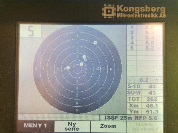 Skjøt 6 serier av 5 skudd med Duell. Endte på 261