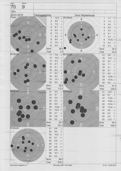 Første 60-skudd serien endte på 534. Har en del skudd jeg gjerne skulle vært foruten.
